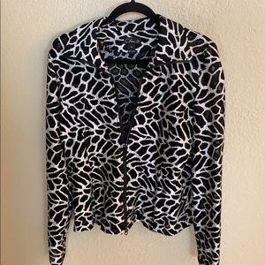 Zip top black/cream animal print Medium